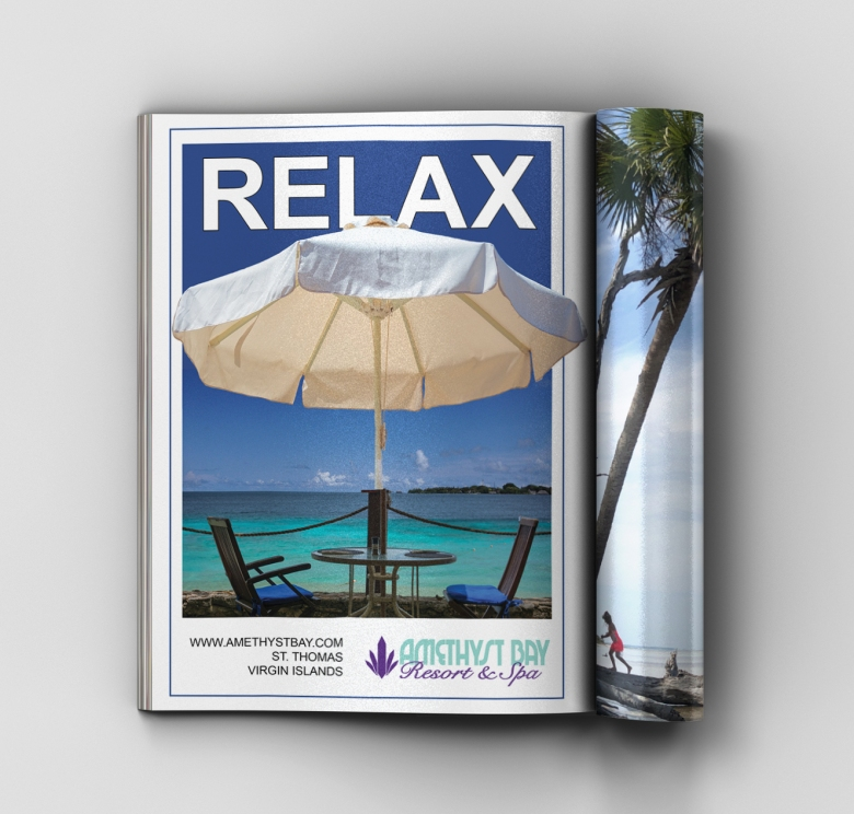 Amethyst Bay Resort and Spa magazine layout presented as full page layout