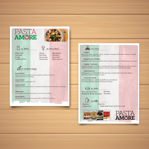 Pasta Amore Menu layout