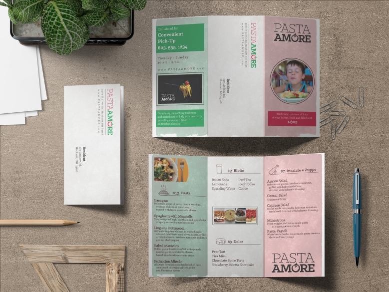 Pasta Amore Tri-fold brochure with menu