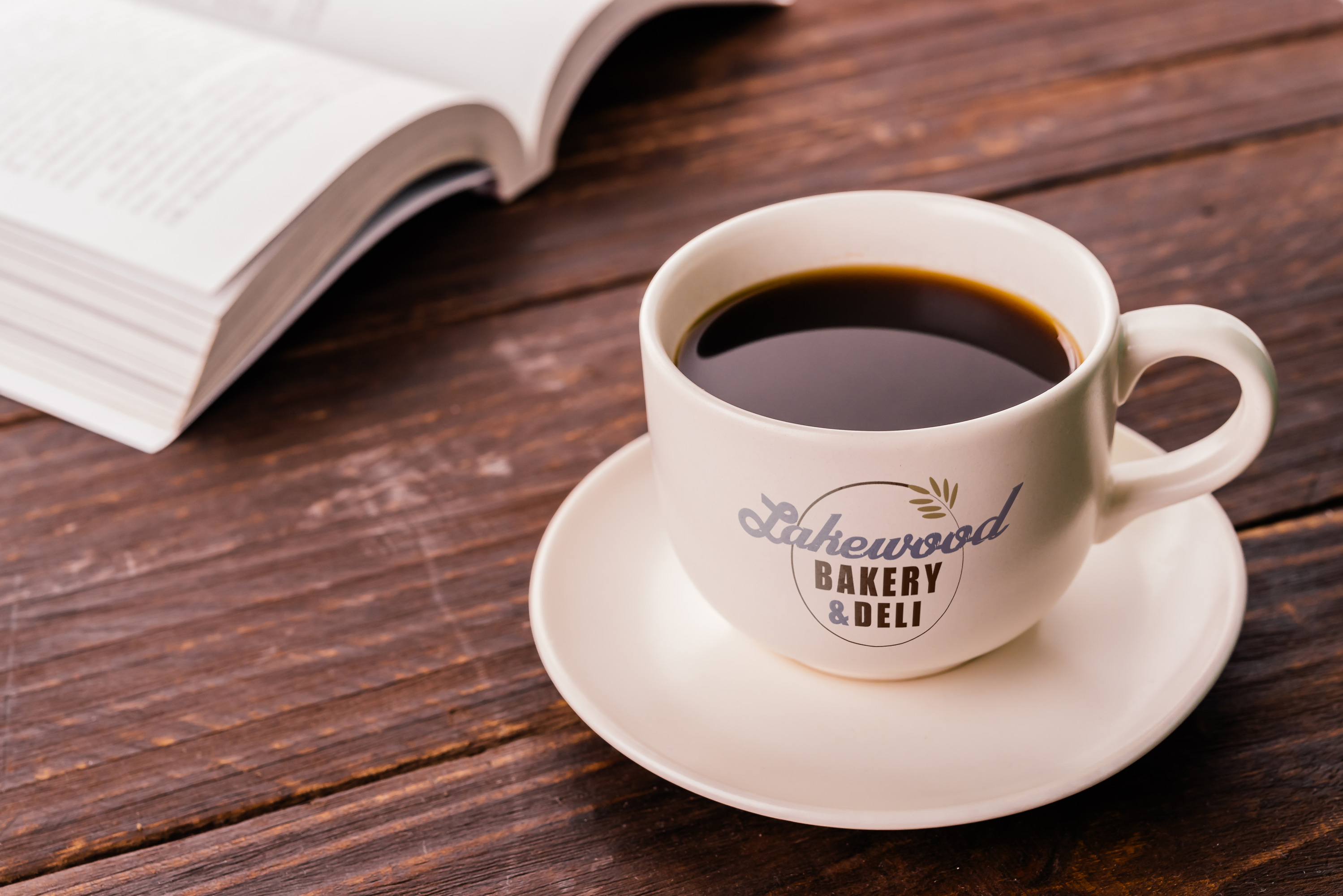 Lakewood Bakery & Deli logo printed on coffee mug