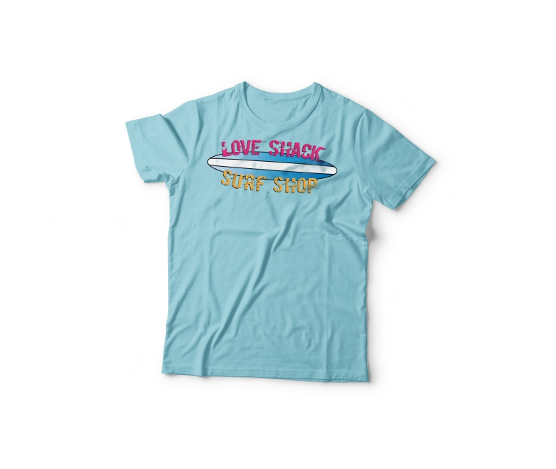 Love Shack Surf Shop design on blue t-shirt