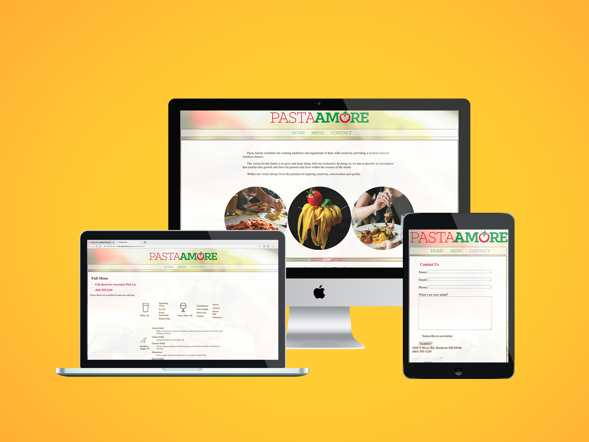 Pasta Amore Website presented on desktop screen, laptop screen, and tablet scree