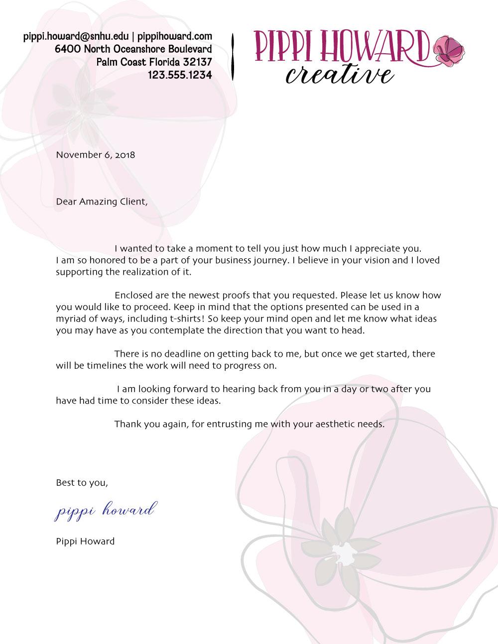 Pippi Howard Creative Letterhead