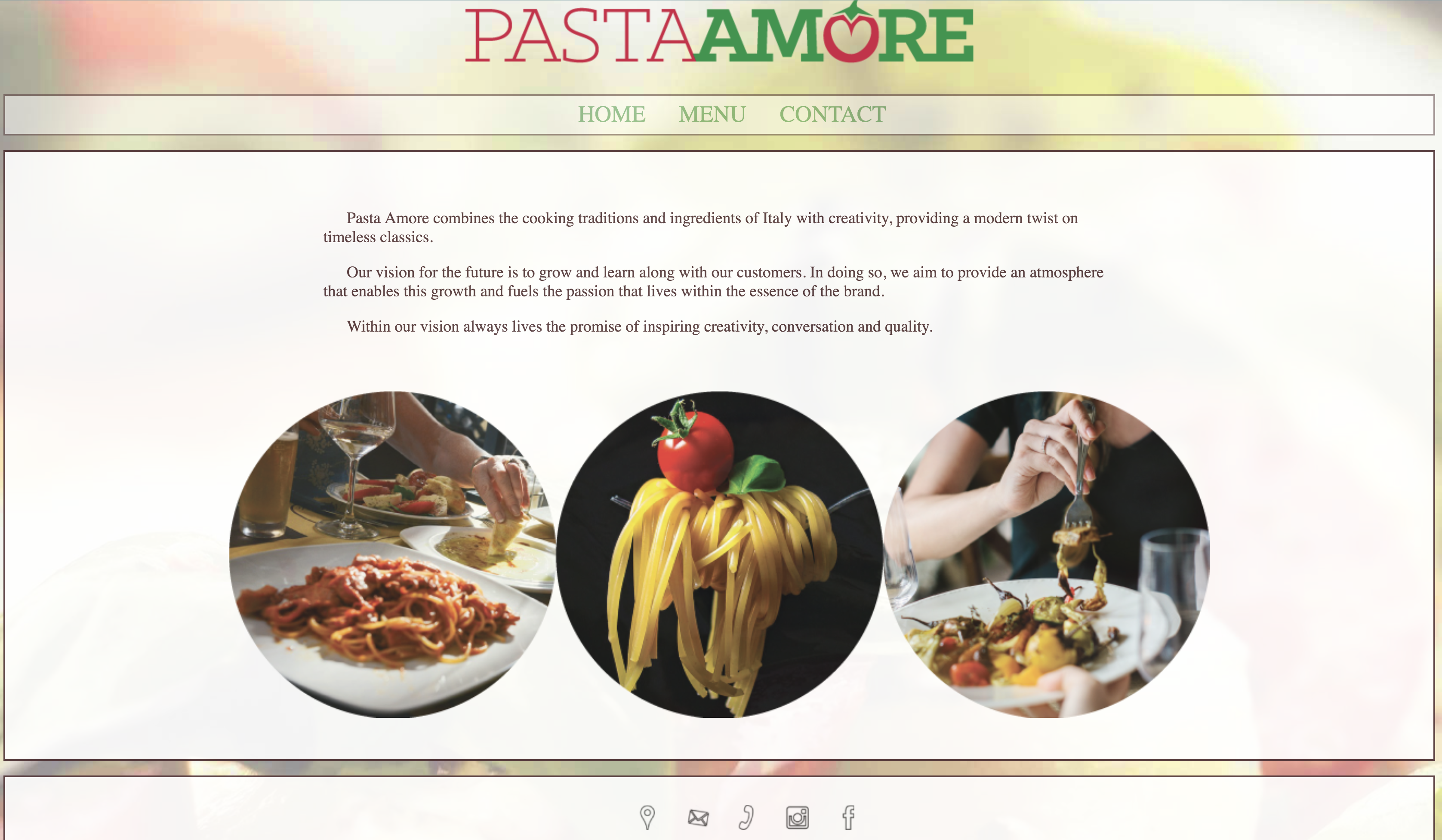 Pasta Amore Website Home Page screen shot