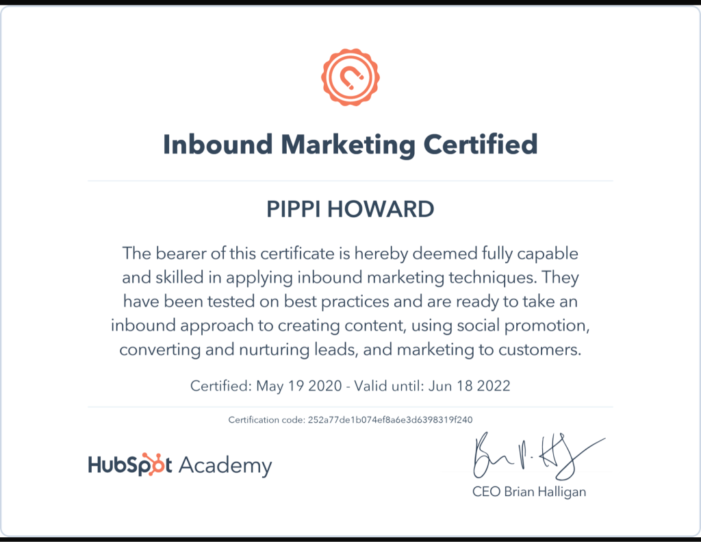 Inbound Marketing Certificate Hubspot Academy