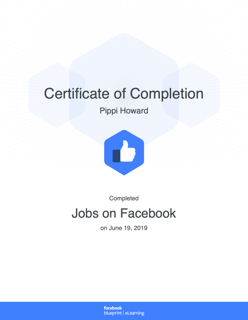 Certificate of Completion Jobs Facebook Blueprint