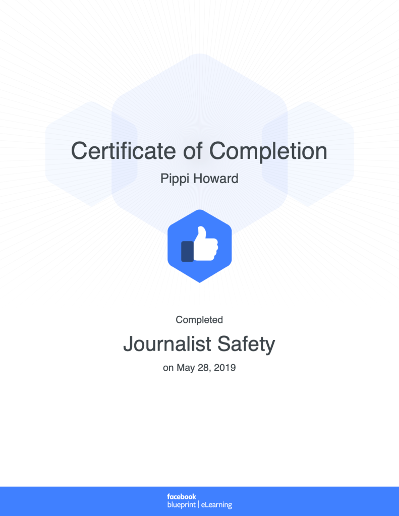Certificate of Completion Journalist Safety Facebook Blueprint