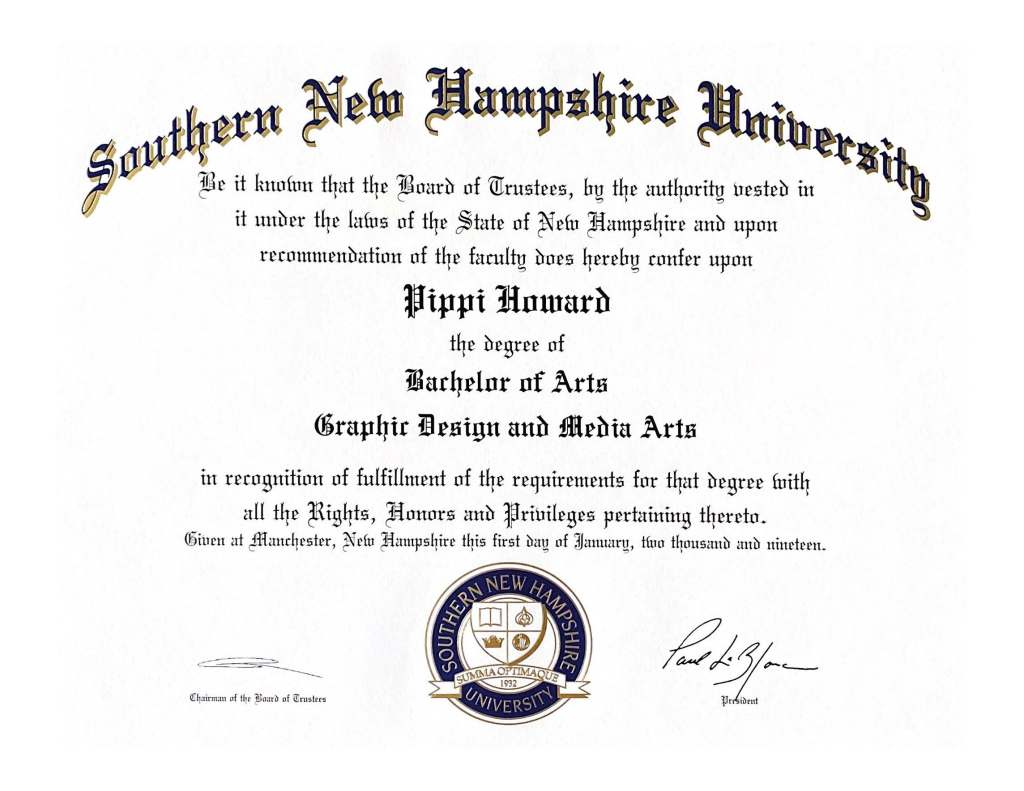 Bachelor of Arts Graphic Design and Media Arts, Southern New Hampshire University