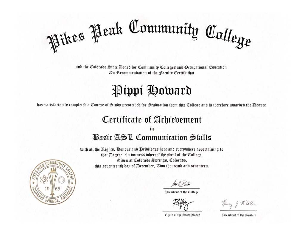 Certificate of Achievement Basic American Sign Language Communication Skills Pikes Peak Community College