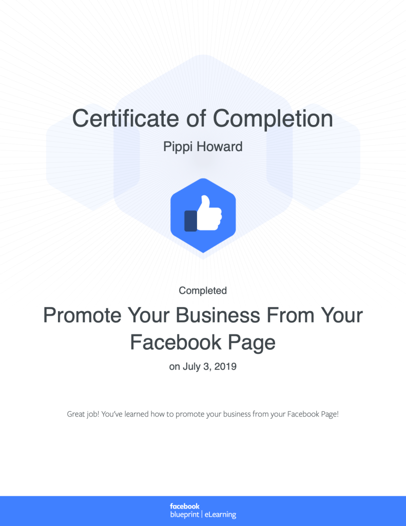 Certificate of Completion Promote Your Business From Your Facebook Page, Blueprint